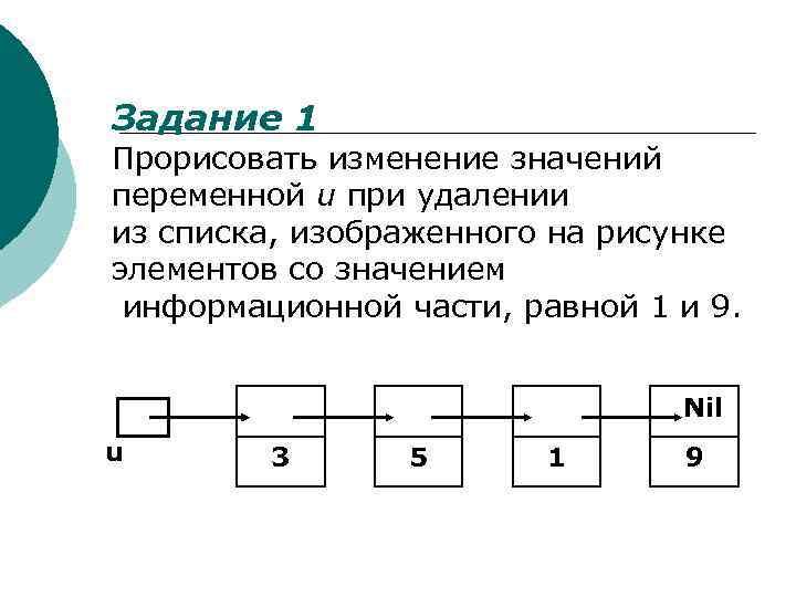 Задание 1 Прорисовать изменение значений переменной u при удалении из списка, изображенного на рисунке