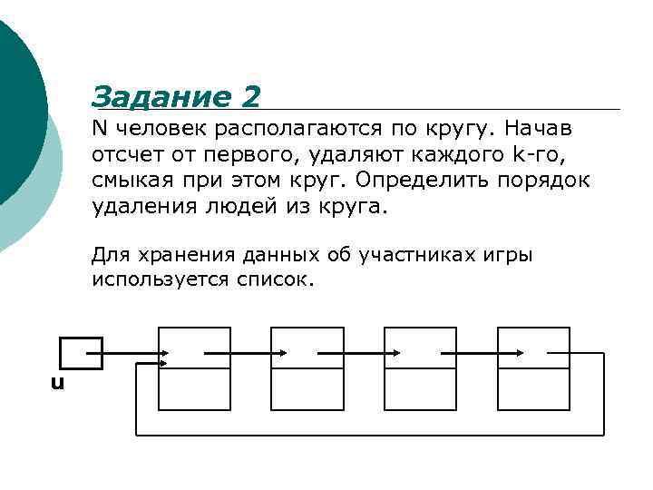 Задание 2 N человек располагаются по кругу. Начав отсчет от первого, удаляют каждого k-го,