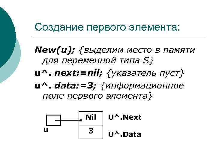 Создание первого элемента: New(u); {выделим место в памяти для переменной типа S} u^. next: