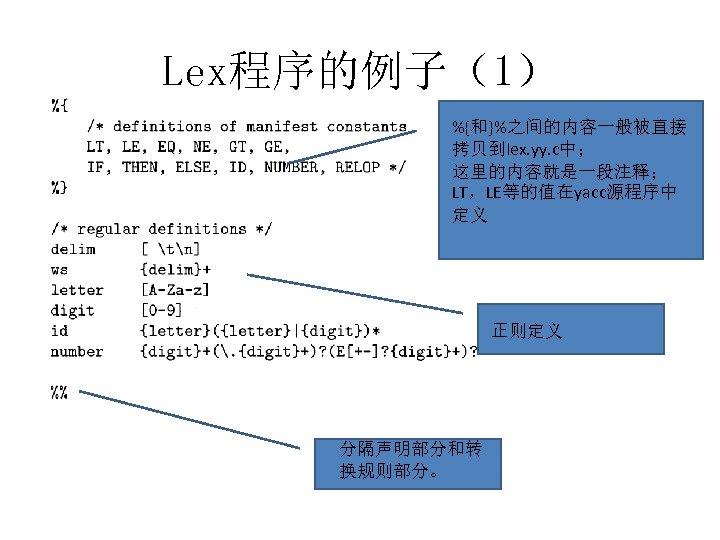 Lex程序的例子(1) %{和}%之间的内容一般被直接 拷贝到lex. yy. c中; 这里的内容就是一段注释; LT,LE等的值在yacc源程序中 定义 正则定义 分隔声明部分和转 换规则部分。