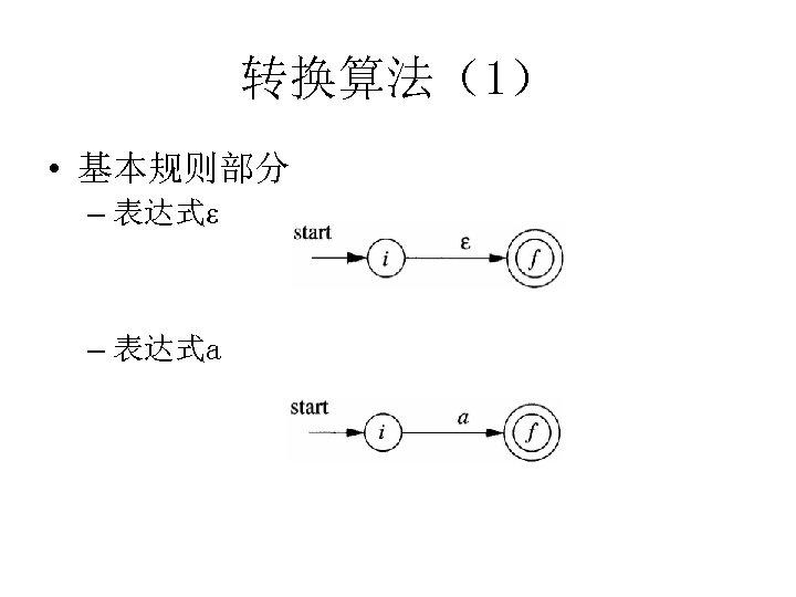 转换算法(1) • 基本规则部分 – 表达式ε – 表达式a