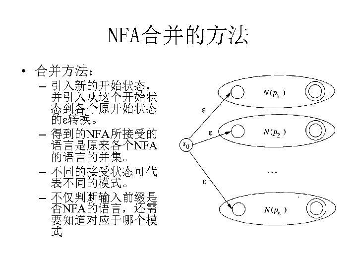NFA合并的方法 • 合并方法: – 引入新的开始状态, 并引入从这个开始状 态到各个原开始状态 的ε转换。 – 得到的NFA所接受的 语言是原来各个NFA 的语言的并集。 – 不同的接受状态可代
