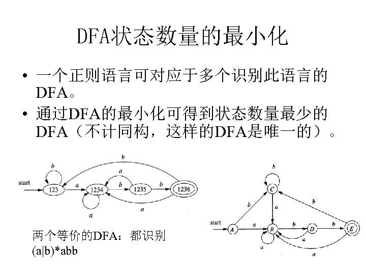 DFA状态数量的最小化 • 一个正则语言可对应于多个识别此语言的 DFA。 • 通过DFA的最小化可得到状态数量最少的 DFA(不计同构,这样的DFA是唯一的)。 两个等价的DFA:都识别 (a|b)*abb