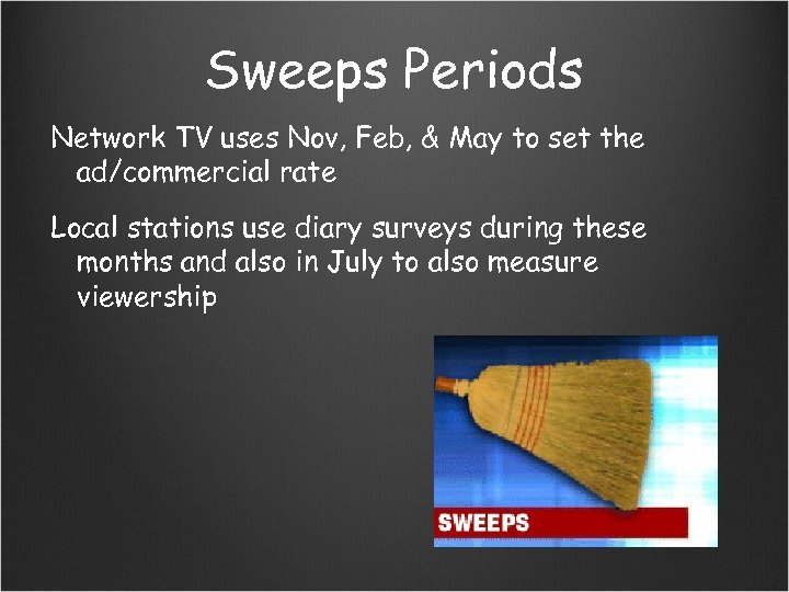 Sweeps Periods Network TV uses Nov, Feb, & May to set the ad/commercial rate