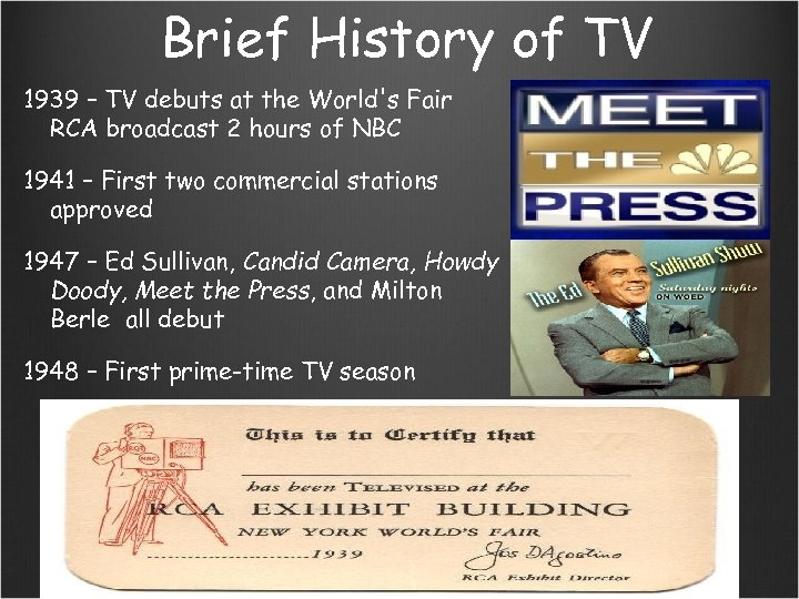 Brief History of TV 1939 – TV debuts at the World's Fair RCA broadcast
