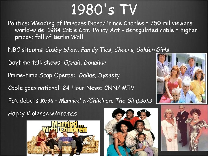 1980's TV Politics: Wedding of Princess Diana/Prince Charles = 750 mil viewers world-wide, 1984