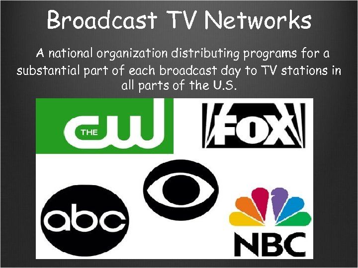 Broadcast TV Networks A national organization distributing programs for a substantial part of each