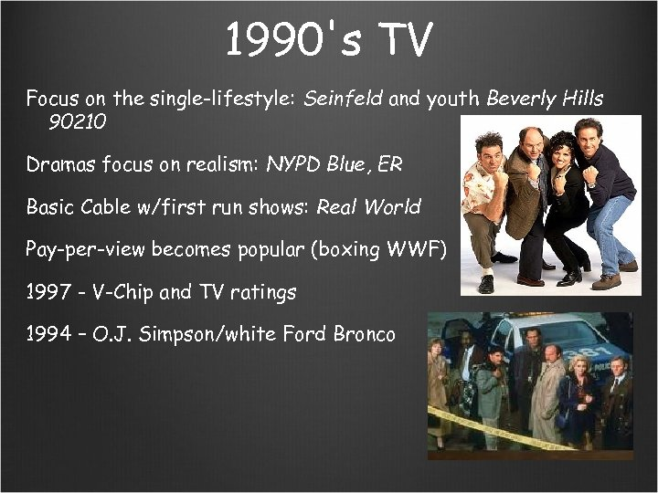 1990's TV Focus on the single-lifestyle: Seinfeld and youth Beverly Hills 90210 Dramas focus