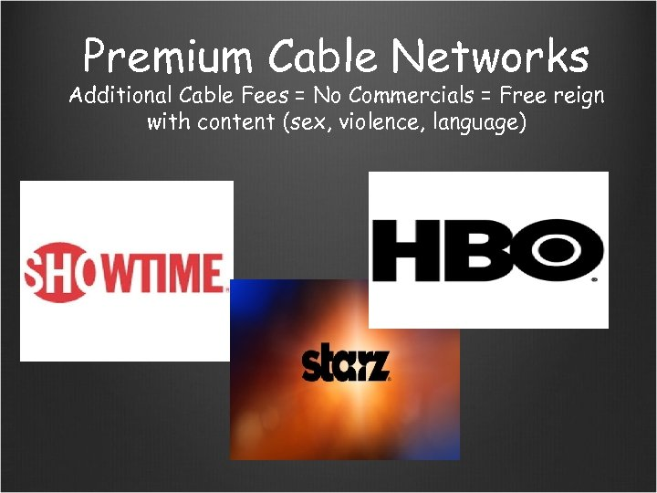 Premium Cable Networks Additional Cable Fees = No Commercials = Free reign with content