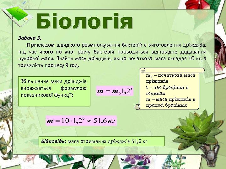 Біологія Задача 3. Прикладом швидкого розмножування бактерій є виготовлення дріжджів, під час якого по