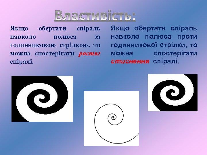 Якщо обертати спіраль навколо полюса за годинниковою стрілкою, то можна спостерігати ростяг спіралі. Якщо