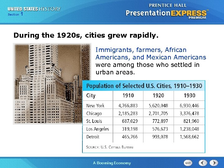 125 Section Chapter Section 1 During the 1920 s, cities grew rapidly. Immigrants, farmers,