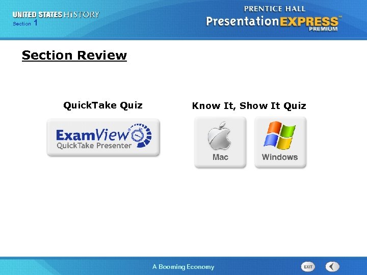 125 Section Chapter Section 1 Section Review Quick. Take Quiz Know It, Show It