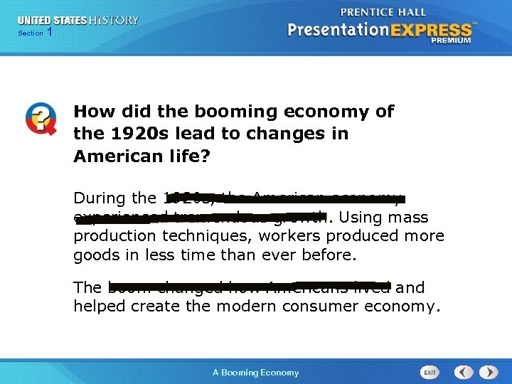 125 Section Chapter Section 1 How did the booming economy of the 1920 s