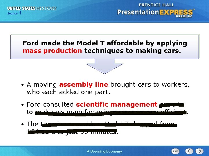 125 Section Chapter Section 1 Ford made the Model T affordable by applying mass