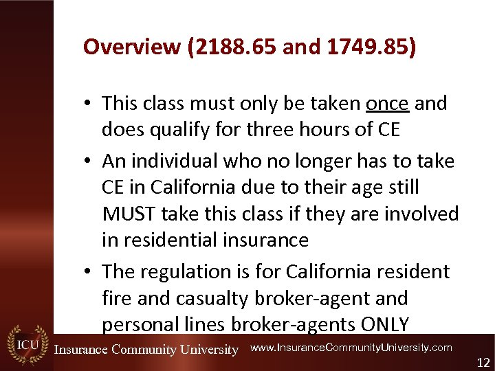 Overview (2188. 65 and 1749. 85) • This class must only be taken once