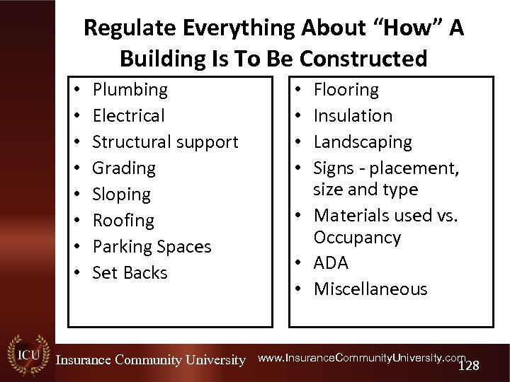 """Regulate Everything About """"How"""" A Building Is To Be Constructed • • Plumbing Electrical"""