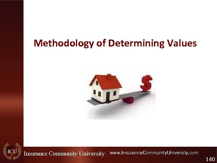 Methodology of Determining Values Insurance Community University www. Insurance. Community. University. com 140