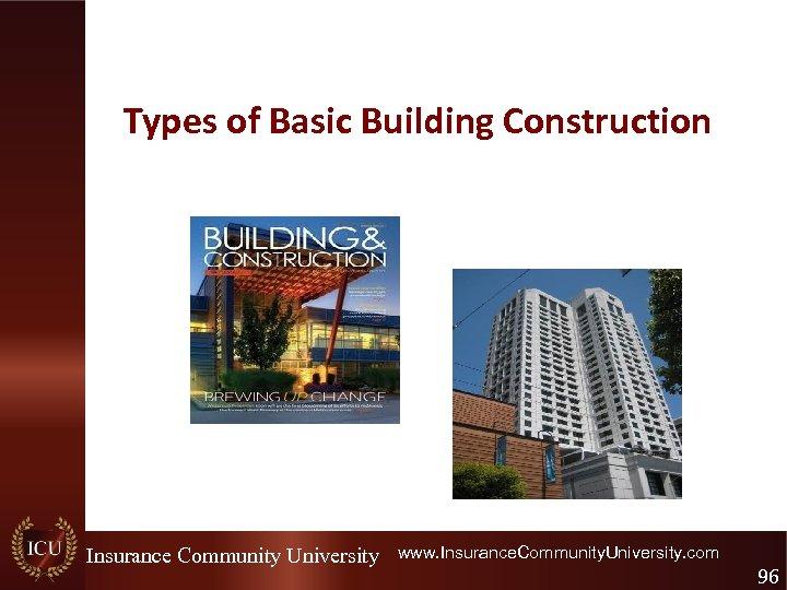 Types of Basic Building Construction Insurance Community University www. Insurance. Community. University. com 96