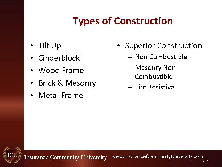 Types of Construction • • • Tilt Up Cinderblock Wood Frame Brick & Masonry