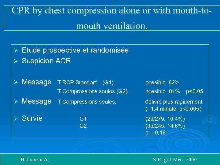 CPR by chest compression alone or with mouth-tomouth ventilation. Etude prospective et randomisée Ø