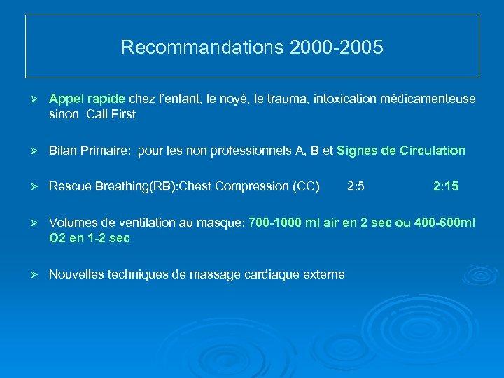 Recommandations 2000 -2005 Ø Appel rapide chez l'enfant, le noyé, le trauma, intoxication médicamenteuse