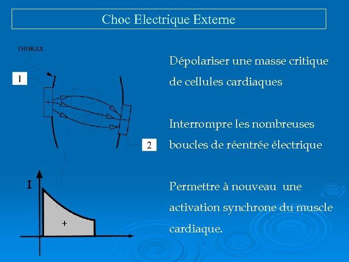 Choc Electrique Externe Dépolariser une masse critique de cellules cardiaques Interrompre les nombreuses boucles