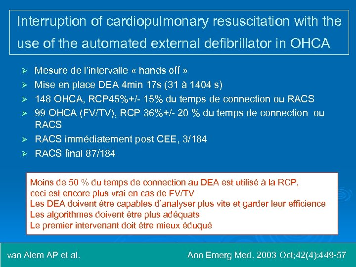 Interruption of cardiopulmonary resuscitation with the use of the automated external defibrillator in OHCA