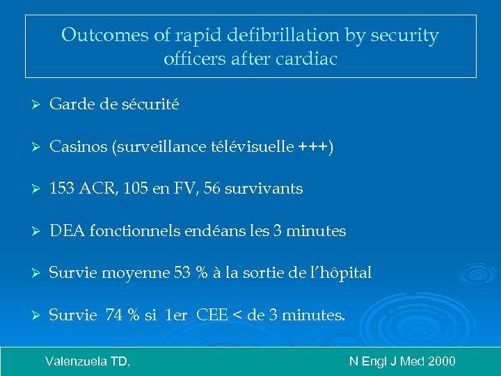 Outcomes of rapid defibrillation by security officers after cardiac Ø Garde de sécurité Ø