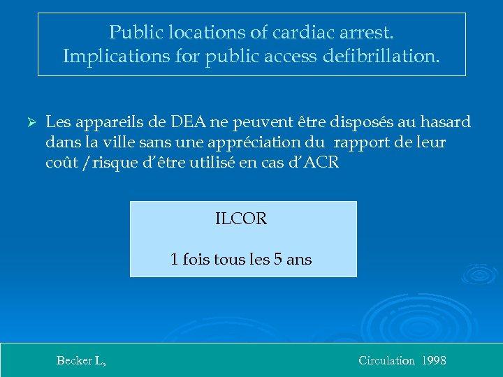 Public locations of cardiac arrest. Implications for public access defibrillation. Ø Les appareils de