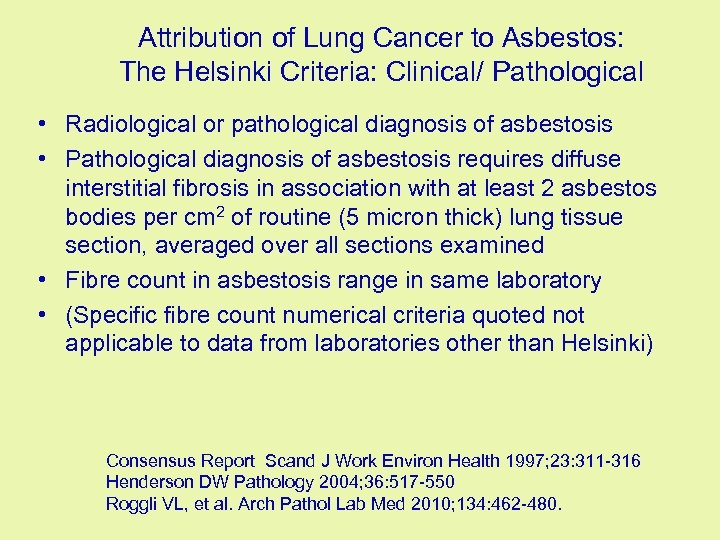 Update on Asbestos and Lung Cancer Is There