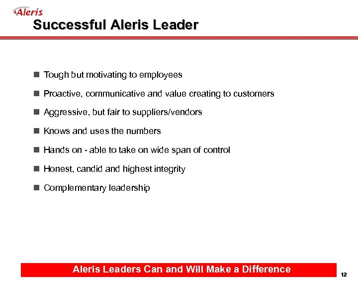 Aleris Successful Aleris Leader n Tough but motivating to employees n Proactive, communicative and