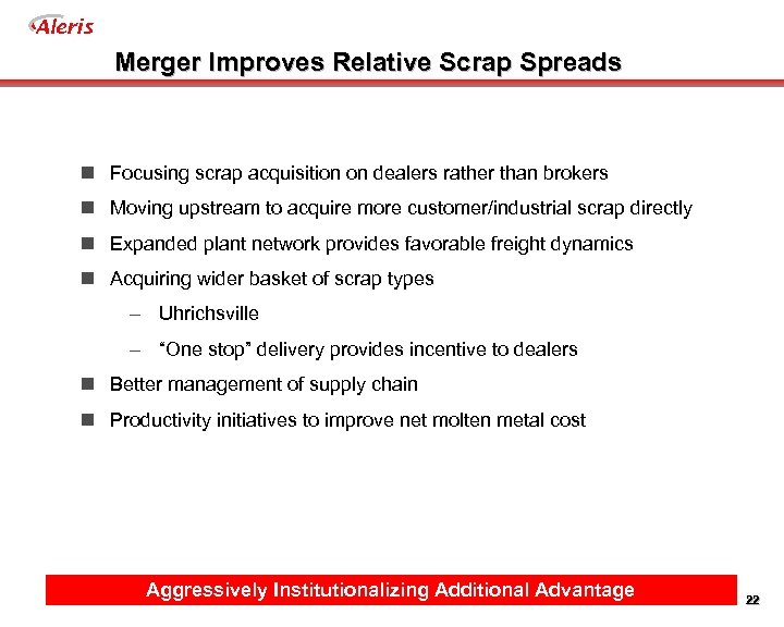 Aleris Merger Improves Relative Scrap Spreads n Focusing scrap acquisition on dealers rather than