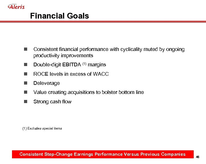 Aleris Financial Goals n Consistent financial performance with cyclicality muted by ongoing productivity improvements