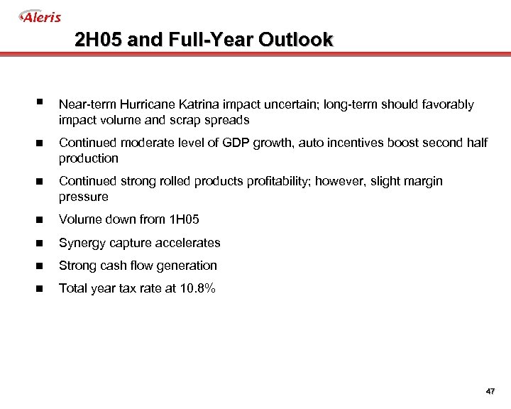 Aleris 2 H 05 and Full-Year Outlook § Near-term Hurricane Katrina impact uncertain; long-term