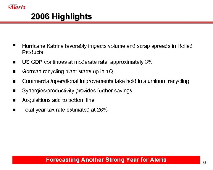 Aleris 2006 Highlights § Hurricane Katrina favorably impacts volume and scrap spreads in Rolled