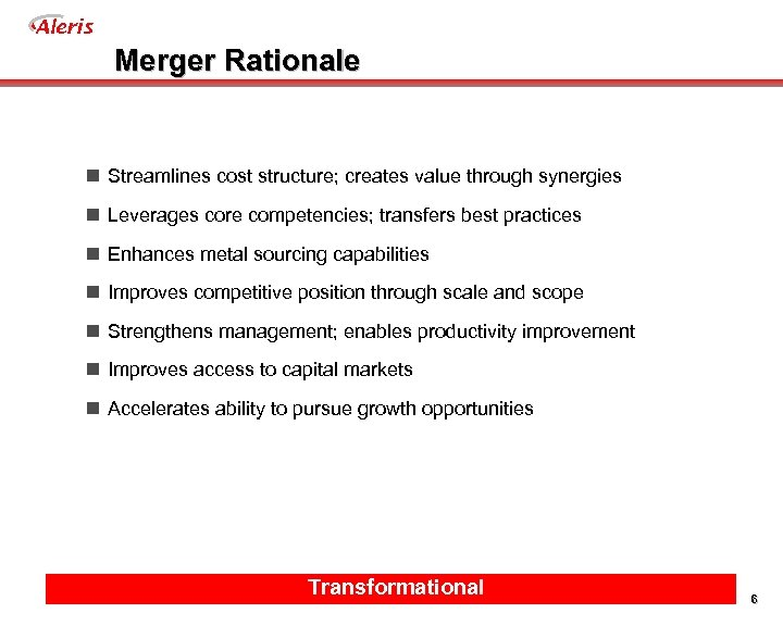 Aleris Merger Rationale n Streamlines cost structure; creates value through synergies n Leverages core
