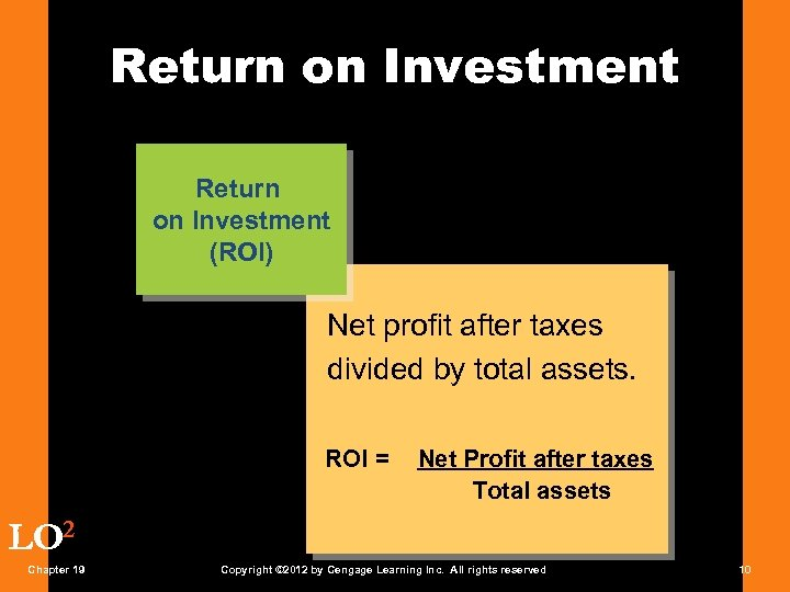 Return on Investment (ROI) Net profit after taxes divided by total assets. ROI =