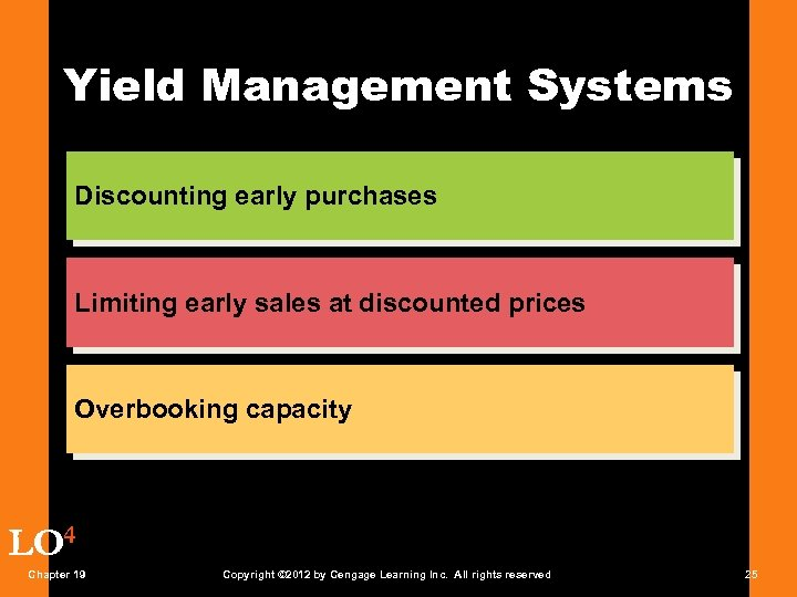 Yield Management Systems Discounting early purchases Limiting early sales at discounted prices Overbooking capacity
