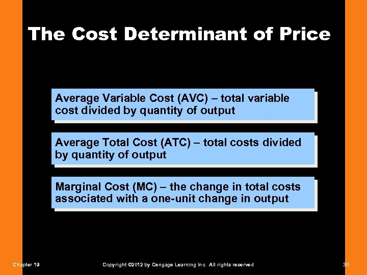 The Cost Determinant of Price Average Variable Cost (AVC) – total variable cost divided