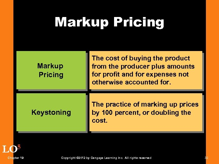 Markup Pricing Keystoning The cost of buying the product from the producer plus amounts