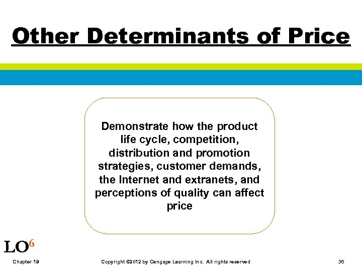 Other Determinants of Price Demonstrate how the product life cycle, competition, distribution and promotion
