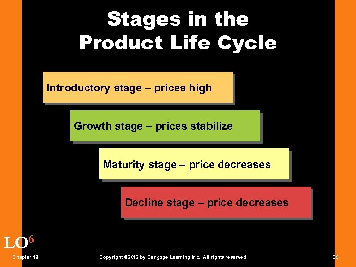 Stages in the Product Life Cycle Introductory stage – prices high Growth stage –