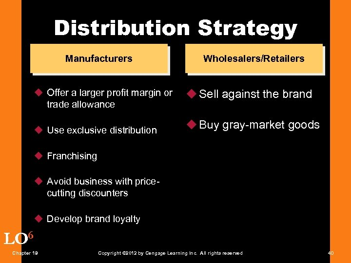 Distribution Strategy Manufacturers u Offer a larger profit margin or trade allowance u Use