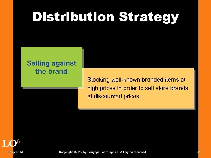 Distribution Strategy Selling against the brand Stocking well-known branded items at high prices in