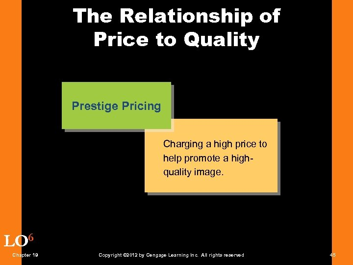 The Relationship of Price to Quality Prestige Pricing Charging a high price to help