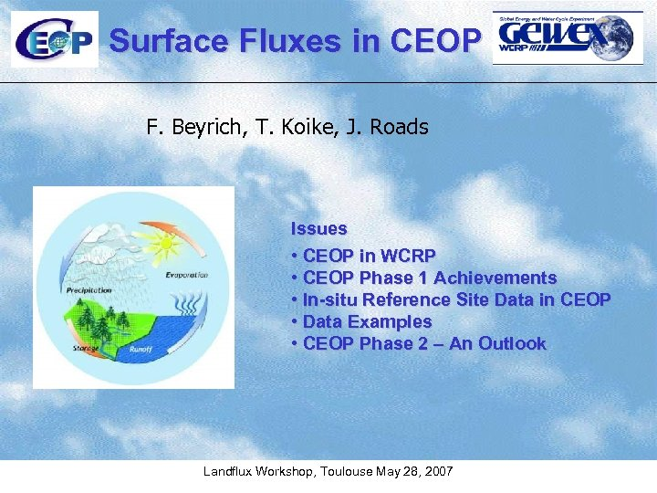 Surface Fluxes in CEOP F. Beyrich, T. Koike, J. Roads Issues • CEOP in