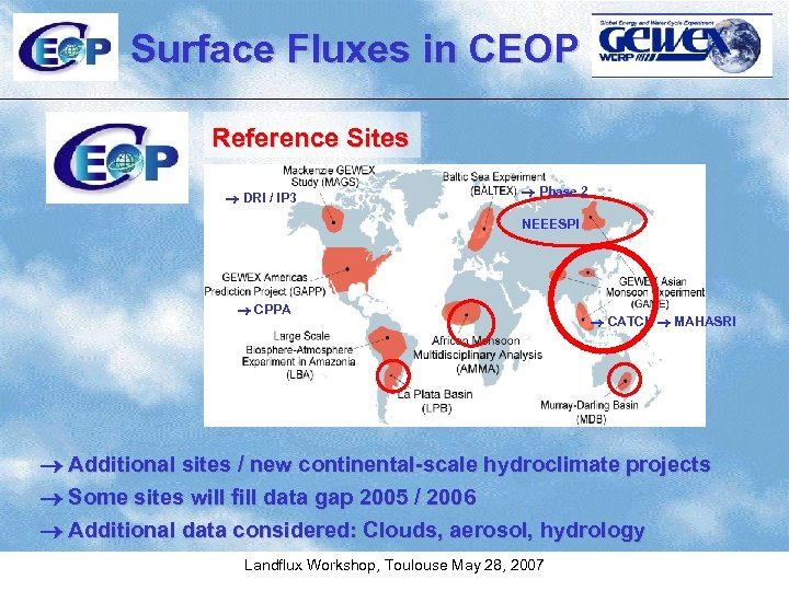 Surface Fluxes in CEOP Reference Sites DRI / IP 3 Phase 2 NEEESPI CPPA