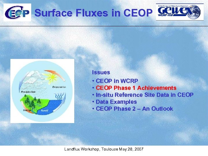 Surface Fluxes in CEOP Issues • CEOP in WCRP • CEOP Phase 1 Achievements