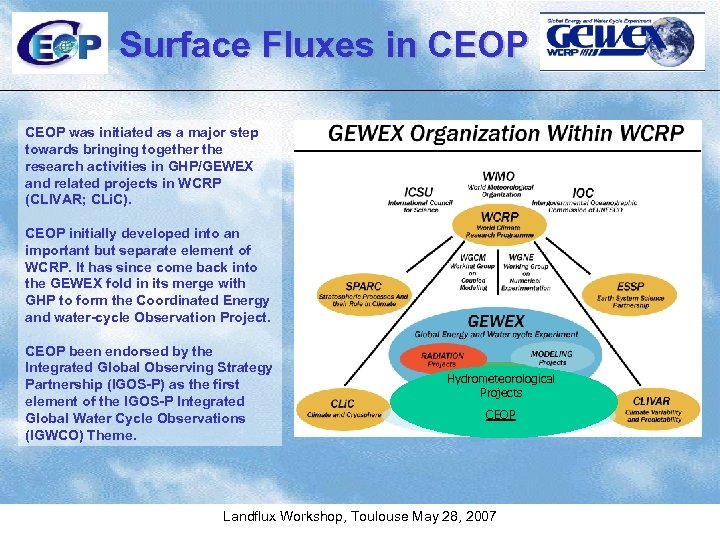 Surface Fluxes in CEOP was initiated as a major step towards bringing together the